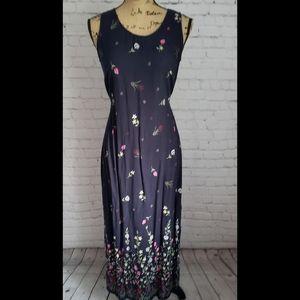 Vintage 90's Navy Floral Maxi Dress Grunge